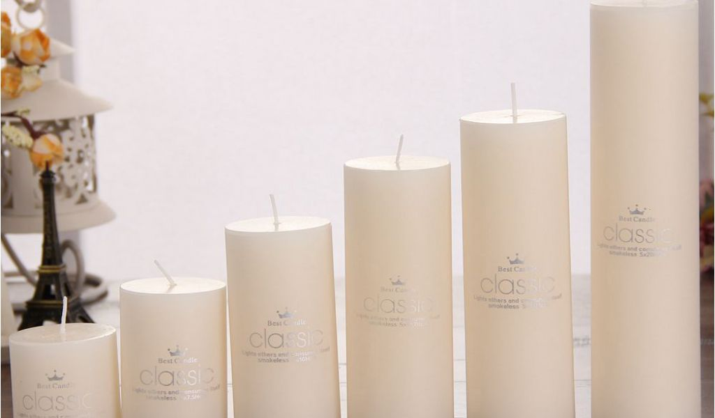 Cheap Ivory Pillar Candles Bulk Smokeless Classical
