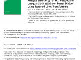 Cookies by Design Mentor Ohio Pdf Analysis and Design Of Ultra Wideband Unequal Split Wilkinson