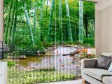 Cortinas De Tela Elegantes Para Sala 3d Cenario Da Floresta De Bambu Sala De Estar Cortinas Cortina