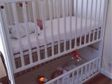 Crib with Storage Drawer Underneath A Bunk Cot for Twins or Siblings Close In Age Perfect if You are
