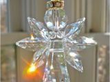 Crystal Suncatchers for Windows Gold Trimmed Quot Angelina Quot Clear Swarovski Crystal Angel