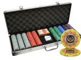Custom Clay Poker Chip Sets 500pcs Laurel Crown Ceramic Poker Chips Set Aluminum Case