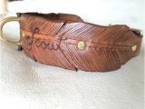 Custom tooled Leather Dog Collars Wide Feather Hand tooled Leather Dog Collar by Finelytooled
