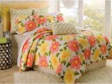 Cynthia Rowley Lattice Reversible Bedding Collection Cynthia Rowley Full Queen Quilt Large Flowers Sage Coral