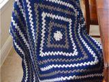 Dallas Cowboys Colors Yarn Crochet Granny Square Lap Blanket In Dallas Cowboys Colors