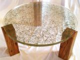 Decomposed Granite with Resin Translucent Resin Table top with Embedded Crushed Leaves by Fogliart