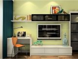 Desk and Tv Stand Combined Minimalist Desk and Tv Cabinet Combo with Pale Green Wall