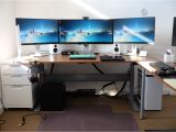 Diy Triple Monitor Stand Wood Gaming Desks Gaming Desks Computer Desk Setup Desk Setup Desk