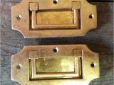 Drop Pulls for Dressers 2 Vintage solid Brass Recessed Flush Door Drawer Cupboard Cabinet