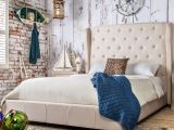 Eastern King Bed Size Vs King Furniture Of America Draviosa button Tufted Padded Flax Wingback