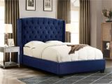 Eastern King Bed Versus California King Majestic Eastern King Tufted Bed In Royal Navy Velvet with Nail Head