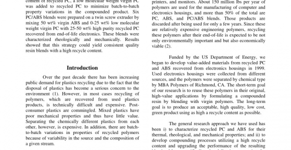 Electronics Recycling Richmond Va Pdf Processing and Characterization Of Recycled Pc Abs Blends with