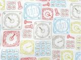 Emma and Mila Fabric Plane Time Control Panel White Cotton Fabric by Emma Mila