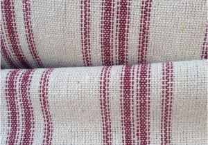 Feedsack Fabric by the Yard Grain Sack Fabric sold by the Yard Red Stripes Vintage