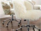 Furry Desk Chair No Wheels Ivory Furlicious Wingback Desk Chair Pbteen
