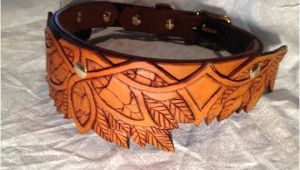 Hand tooled Leather Dog Collars Elven Hand tooled Leather Dog Collar Antique by Finelytooled