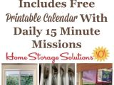 Home Storage solutions 101 Calendar Free Printable January Decluttering Calendar with Daily 15 Minute