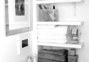 How to Decorate A Half Wall Ledge Awesome White Hardwood Floating Shelves as Corner Bathroom Storage