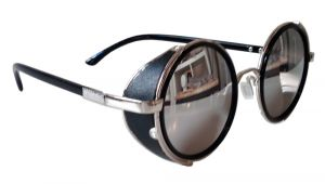How to Make Leather Side Shields for Glasses Round Sunglasses Silver Frames Mirrored Lenses Side Shields
