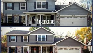 James Hardie Aged Pewter Homes before after Blakemore Aged Pewter Lake House Exterior House