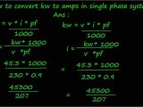 Kw to Amps 240v How to Convert Kw to Amps In Single Phase System Youtube