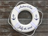Life Ring Buoy Personalized Personalized Nautical Ring Buoy with Anchors Nautical Wedding