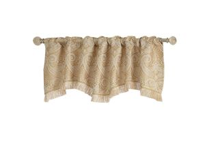 Lowes Curtains and Drapes Shop Allen Roth 16 In L Gold Raja ascot Valance at Lowes Com
