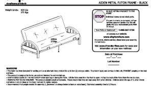 Mainstays Black Metal Arm Futon assembly Instructions Mainstays Metal Arm Futon Instruction Manual Bm Furnititure