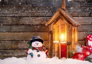 Mesa Christmas Arts and Crafts Festival Joyeux Noel Neige Bonhomme De Neige Bougies Boules Cadeau Fonds