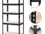 Metal Storage Shelves Walmart Yaheetech Black Adjustable 5 Shelf Shelving Unit Storage Rack