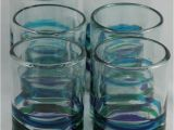 Mexican Hand Blown Drinking Glasses Authentic Mexican Drinking Glass Glasses 3 Color Bands
