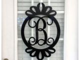 Monogram Front Door Hanger Metal Monogram Door Hanger Monogrammed Wreath by