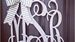 Monogram Front Door Letters 20 Inch 3 Letter Wooden Front Door Monogram with Bow Gray