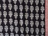 Mudcloth Cotton Fabric by the Yard Indian Flower Design Black Block Print Fabric Indian Block Print