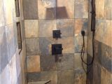 Open Shower Designs without Doors Slate Tile Black Accessories Black Tile Trim Doorless Shower