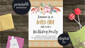 Party Supplies Roanoke Va Wild One Birthday Invitation Tribal Birthday Invitation Girl