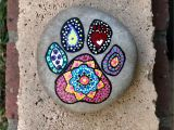 Paw Print Flower Art Dog Paw Print Hand Painted Mandala Rock Cute Painted Rocks