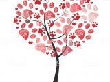 Paw Print Flower Art Heart Tree with Paw Prints Vector Stock Vector Art More Images Of