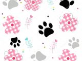 Paw Print Flower Art Paw Prints with Plaid Pattern Abstract Flower Vector Illustraton