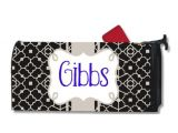 Personalized Magnetic Mailbox Covers Personalized Black and Cream Trellis Magnetic by