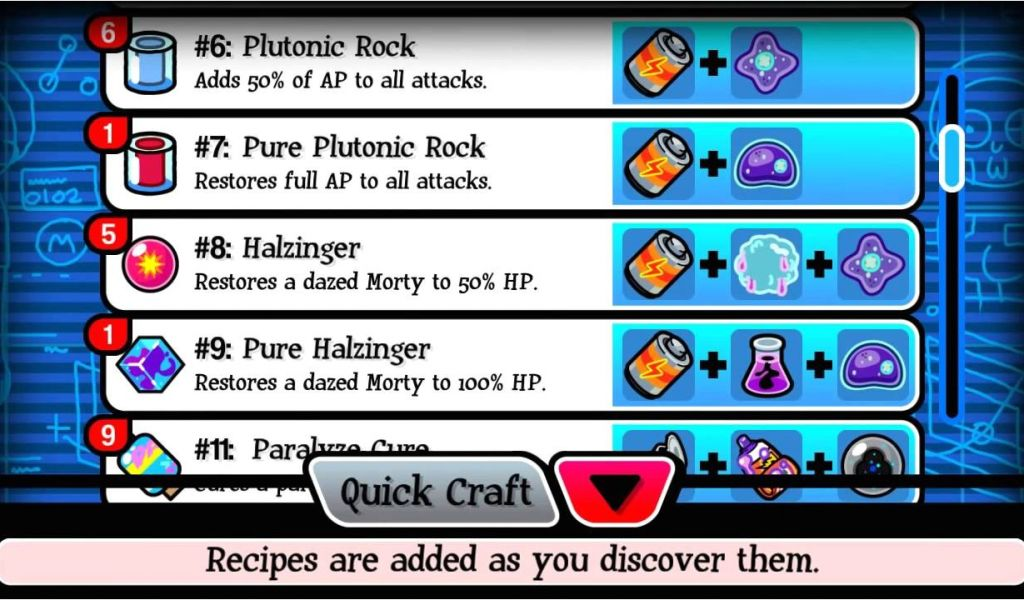Pocket Mortys Crafting Recipe List Pocket Mortys All 33 Or 32