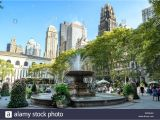 Public Park In Manhattan New York the Fountain In Bryant Park New York Manhattan Stock Photo