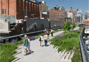 Public Park In Manhattan On An Old Railway High Line Elevated Park Stock Photos High Line Elevated Park Stock