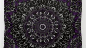 Purple and Grey Tapestry Purple Gray and Black Kaleidoscope 3 Wall Tapestry by
