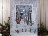 Radiance Flickering Light Canvas Snowman Radiance Winter Wonderland Snowman Snowballs Scene Led