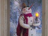 Radiance Flickering Light Canvas Snowman Woodland Snowman Flickering Led Battery Light Radiance