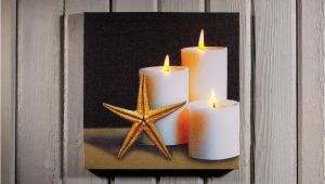 Radiance Flickering Light Canvas Starfish and Candles W Flickering Lights Radiance Lighted
