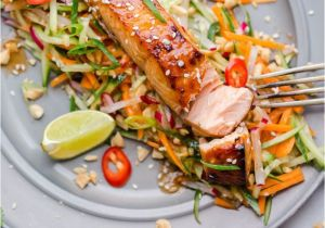 Recetas De Salmon Faciles asian Style Salmon with Carrot and Cucumber Slaw In Peanut Dressing