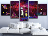 Rick and Morty 5 Piece Canvas Framed 5 Piece Psychedelic Rick and Morty Canvas Art Wall