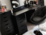 Slaystation Table top Beautiful Black Vanity Makeup Room Has Ikea Alex Drawers and